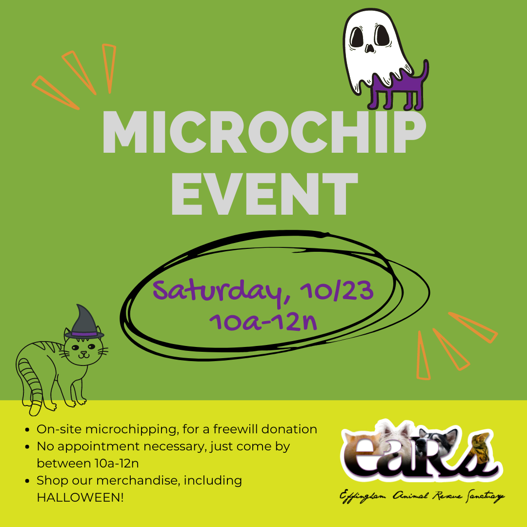 Pet Microchip Event on Saturday, October 23rd from 10am to 12noon